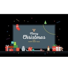 TV with Congratulatory text Merry Christmas and vector