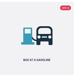 two color bus at a gasoline station icon from vector image