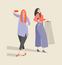 two cute girls choose clothes in store vector image