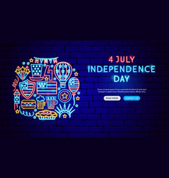usa independence day neon banner design vector image