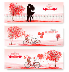 valentines day holiday banners with a heart vector image
