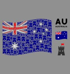 waving australia flag composition fortress vector image