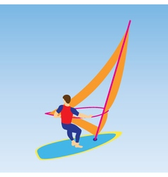 Windsurfer on a board for windsurfing vector
