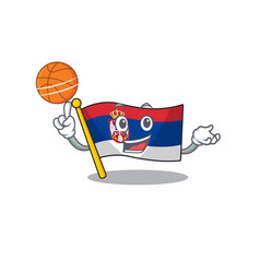 With basketball flag serbia isolated with the vector