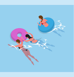 Women in bikini swimsuit swimming inflatable ring vector