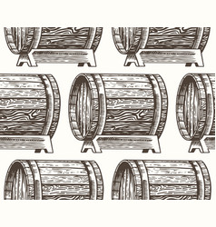 wooden oak barrels aged wine or beer seamless vector image