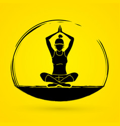 yoga pose woman training yoga vector image