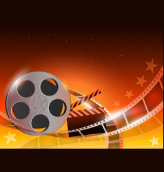 a film stripe reel on shiny red vector image