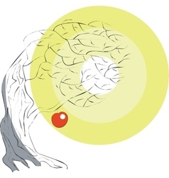 Apple tree color 02 vector image