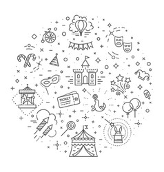 circus outline icons collection set festival vector image vector image