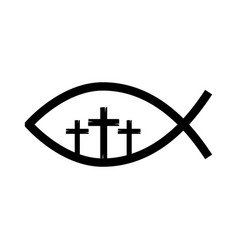 fish religious symbol with cross vector image vector image