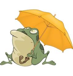 Frog with an umbrella Cartoon vector image