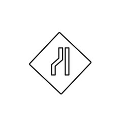 Left lane road sign icon vector
