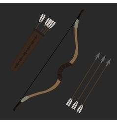 Medieval archer long bow with arrows and quiver vector image