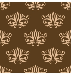 Brown and beige seamless arabesque pattern vector image vector image