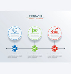business infographics template 3 data with circle vector image