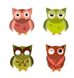 Cartoon owl set vector image