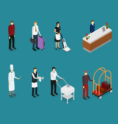 hotel service people staff set isometric view vector image