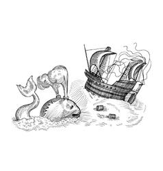 monster and sailing ship vector image