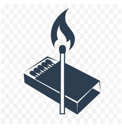 Black icon lighted match vector