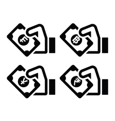 Hand with money icon - franc baht yuan rupee vector image