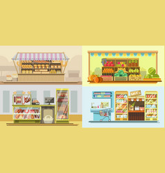 Shop counters or store supermarket product display vector