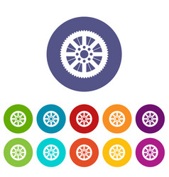 sprocket from bike set icons vector image vector image