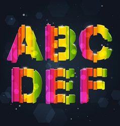 Abstract Rainbow Font A-F vector image vector image