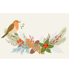 Floral christmas decoration vector