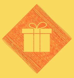 gift box sign red scribble icon obtained vector image vector image