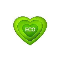 green paper eco heart vector image vector image