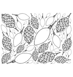 hand drawn of pine cone with christmas light backg vector image