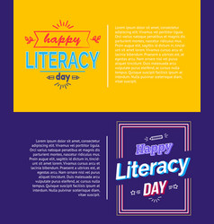 happy literacy day posters set vector image