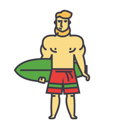 strong bearded man with surfing board surfer vector image vector image