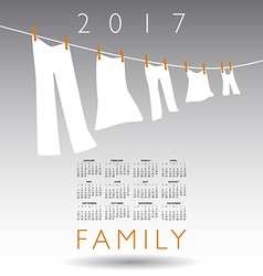 2017 calendar with a family concept vector image