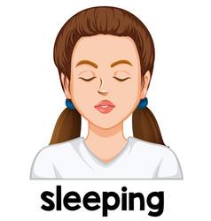 A girl sleeping face vector