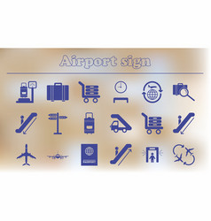 Airport icons collection of airport signs travel vector