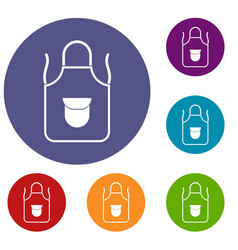 Apron with pocket icons set vector