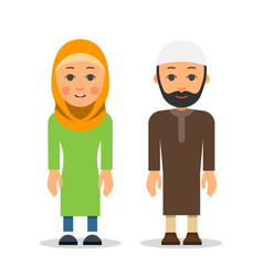 Arab or muslim couple woman and man stand vector