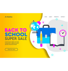 Back to school sale concept landing page for vector