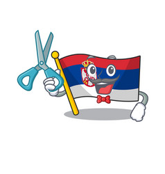 Barber flag serbia isolated with character vector