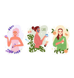 Beauty skincare with natural eco cosmetics set vector