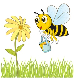 Bee and flower vector