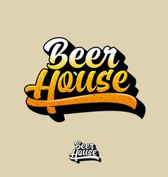 Beer pub emblem beautiful calligraphy sign vector