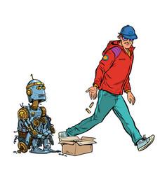 Beggar homeless robot asks for alms vector