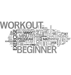 Beginner workout text word cloud concept vector