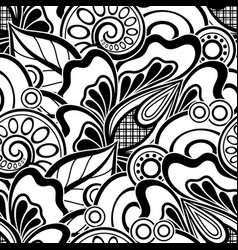 black and white seamless pattern with floral vector image
