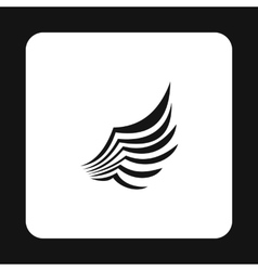 Black birds wing with feathers icon simple style vector image