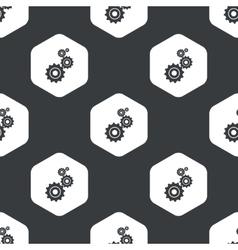 Black hexagon gears pattern vector image
