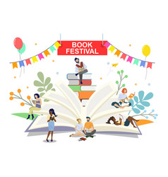 book festival poster banner template vector image